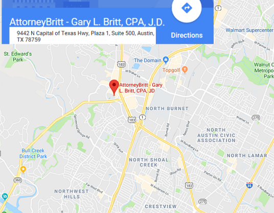 See AttorneyBritt - Gary L. Britt, CPA, J.D. On Google Maps