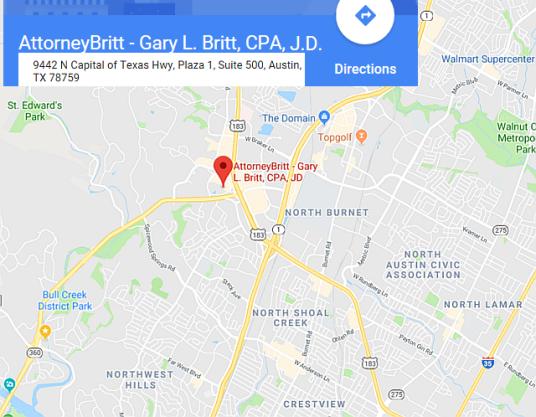 See AttorneyBritt - Gary L. Britt, CPA, J.D. On Google Maps