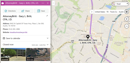 Click Here For AttorneyBritt On Bing Maps